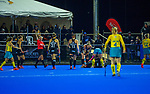 NZ's Kayla Whitelock goes down injured during the Sentinel Homes Trans Tasman Series hockey match between the New Zealand Black Sticks Women and the Australian Hockeyroos at Massey University Hockey Turf in Palmerston North, New Zealand on Tuesday, 1 June 2021. Photo: Dave Lintott / lintottphoto.co.nz