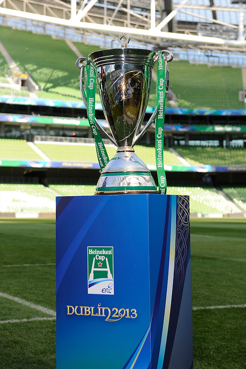 The Heineken Cup Trophy on display at the Captain's Run press conference before the Heineken Cup Final at the Aviva Stadium, Dublin on Friday 17th May 2013 (Photo by Rob Munro).