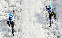 January 5th 2020, Changchun, China;  Valeriia Bogdan and Maria Tolokonina of Russia compete during for womens speed final at 2019-2020 UIAA International Climbing and Mountaineering Federation Ice Climbing World Cup at Lotus Mountain in Changchun, capital of northeast Chinas Jilin Province