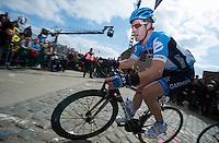 De Ronde van Vlaanderen 2012..Tyler Farrar leading the race up the Paterberg(2nd of 3 runs up it)