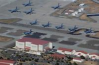 aerial photograph of Lockheed C-5 Galaxy transport aircraft at Travis Air Force Base (SUU), Solano County, California