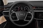 Car pictures of steering wheel view of a 2019 Audi A8-L - 4 Door Sedan Steering Wheel