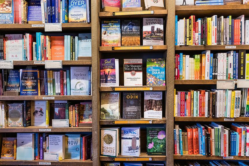 Bookstore shelf detail.