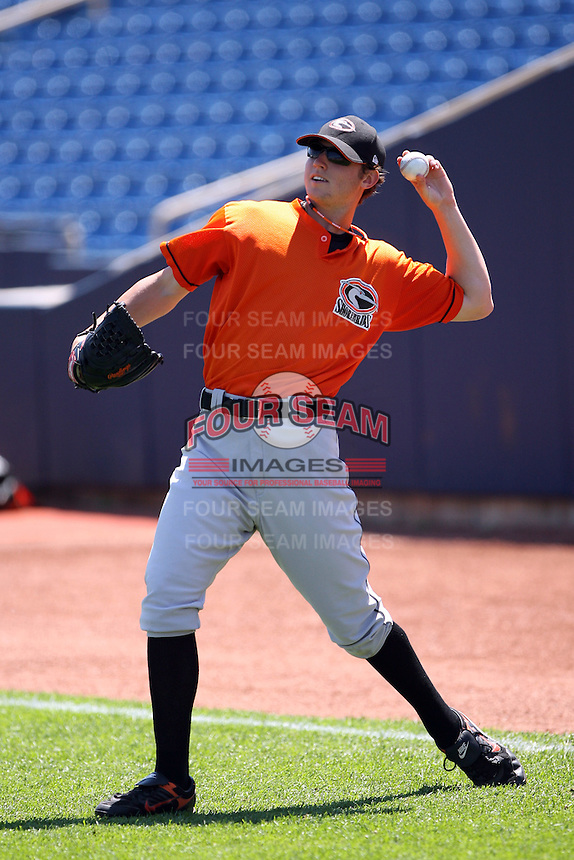June 11th 2008:  Pitcher Zach Britton of the Delmarva Shorebirds, Class-A affiliate of the Baltimore Orioles, during a game at Classic Park in Eastlake, OH.  Photo by:  Mike Janes/Four Seam Images