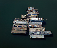 aerial photograph of anchored barges San Diego bay, California