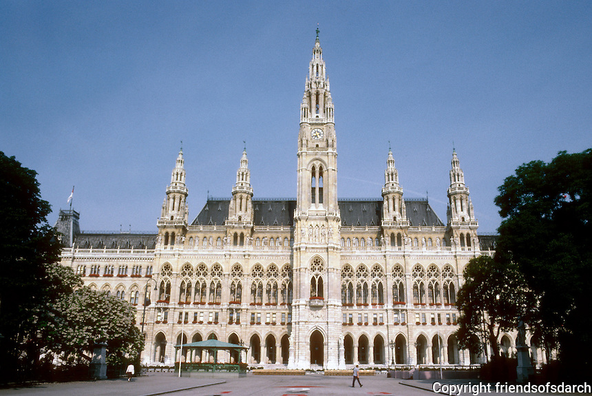 Vienna: The Ringstrasse--New City Hall by Friedrich Von Schmidt. Rathausplatz, 1872-1883. Gothic style. Photo '87.