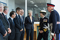 Today, HRH The Princess Royal meets (R-L) Rt Hon Theresa May, Prime Minister, Mr Phillip May, Rt Hon Gavin Williamson, Secretary of Defence, Rt Hon Alun Cairns, Secretary of State for Wales, and Guto Bebb, Minister of Defence Procurement at The Venue Cymru, Llandudno to celebrate Armed Forces Day.<br /> <br /> Saturday 30th June 2018, saw hundreds of events held to mark the tenth annual Armed Forces Day, including parades and ceremonies right across the country. Men and women from the Royal Navy, British Army and Royal Air Force, both regulars and reserves, are being recognised alongside the wider defence family including cadets and veterans.<br /> <br /> The national event in Llandudno, North Wales was attended by Her Royal Highness Princess Anne, the Princess Royal representing The Queen and the Royal Family, the Prime Minister Theresa May and the Defence Secretary Gavin Williamson, along with other senior politicians. <br /> <br /> A parade of around 1,000 serving personnel, veterans, cadets and marching bands set off from the Llandudno War Memorial at 11am to signal the start of the Armed Forces Day celebrations.<br /> <br /> Also present were many veterans that make-up the estimated 2.56 million Armed Forces veteran community living in the UK. Young Cadets were also present; together the Sea, Army, and Air cadets have almost 100,000 members.