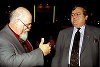 Jean Garon (R) at Salon du livre  in 1995.<br /> <br />  Jean Garon died at 76 on July 2nd 2014.<br /> <br />  File Photo  : Agence Quebec Presse  - Pierre Roussel