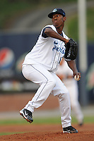 Asheville Tourists Edwar Cabrera #16 delivers a pitch during a game against  the Lexington Lengends at McCormick Field in Asheville,  North Carolina;  April 18, 2011. Asheville defeated Lexington 4-1.  Photo By Tony Farlow/Four Seam Images