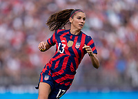 EAST HARTFORD, CT - JULY 5: Alex Morgan #13 of the USWNT sprints during a game between Mexico and USWNT at Rentschler Field on July 5, 2021 in East Hartford, Connecticut.
