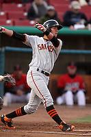 Joe Panik #29 of the San Jose Giants bats against the High Desert Mavericks at Stater Bros. Stadium on April 9, 2012 in Adelanto,California. High Desert defeated San Jose 6-5.(Larry Goren/Four Seam Images)