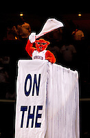 Charlotte Bobcats mascot Rufis provides halftime entertainment during a NBA 2010 playoff game between the Charlotte Bobcats and Orlando Magic at Charlotte's Time Warner Cable Arena. The Charlotte Bobcats, which play in Time Warner Cable Arena in downtown Charlotte, are part of the Southeastern Division of the National Basketball Association's Eastern Conference.