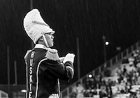 Rain was falling at the beginning of the game, but eventually things dried out.