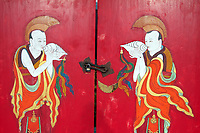 A painted door depicting buddhist monks at Rebgong (Tongren) monastery on the Qinghai-Tibetan Plateau. China. 2011