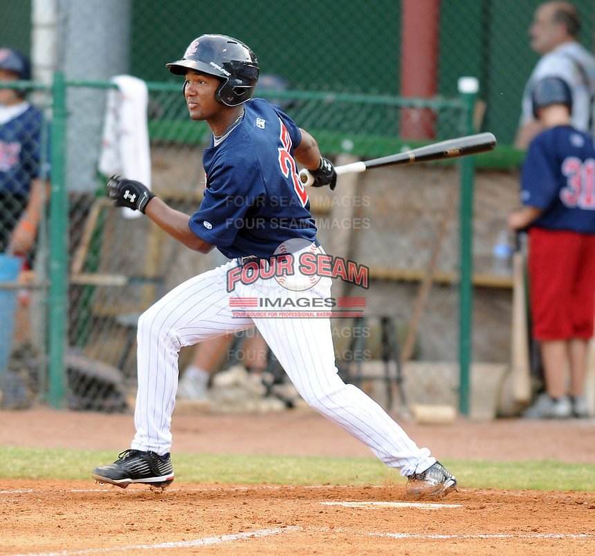 Infielder Danny Santana (27) of the Elizabethton Twins in a game against the Danville Braves on July 16, 2010, at Joe O'Brien Field in Elizabethton, Tenn. Photo by: Tom Priddy/Four Seam Images