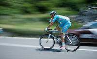 Luis Leon Sanchez (ESP/Astana) speeding back to the peloton after getting a bidon from the teamcar<br /> <br /> Giro d'Italia 2015<br /> stage 19: Gravellona Toce - Cervinia (236km)
