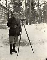 Sir Henry Thornton, president of Canadian National Railways, at the Jasper Park Lodge construction site,Jasper National Park, ca. 1923