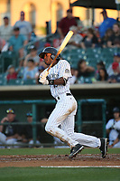 Mylz Jones (13) of the Lancaster JetHawks bats against the Lake Elsinore Storm at The Hanger on June 14, 2017 in Lancaster, California. Lancaster defeated Lake Elsinore, 4-0. (Larry Goren/Four Seam Images)