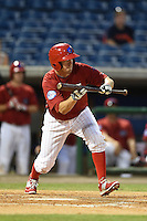Clearwater Threshers second baseman Brodie Greene (6) squares to bunt during a game against the Tampa Yankees on April 21, 2015 at Bright House Field in Clearwater, Florida.  Clearwater defeated Tampa 3-0.  (Mike Janes/Four Seam Images)