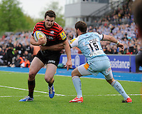 20130512 Copyright onEdition 2013©.Free for editorial use image, please credit: onEdition..Duncan Taylor of Saracens forces his way through Ben Foden of Northampton Saints to score a try during the Premiership Rugby semi final match between Saracens and Northampton Saints at Allianz Park on Sunday 12th May 2013 (Photo by Rob Munro)..For press contacts contact: Sam Feasey at brandRapport on M: +44 (0)7717 757114 E: SFeasey@brand-rapport.com..If you require a higher resolution image or you have any other onEdition photographic enquiries, please contact onEdition on 0845 900 2 900 or email info@onEdition.com.This image is copyright onEdition 2013©..This image has been supplied by onEdition and must be credited onEdition. The author is asserting his full Moral rights in relation to the publication of this image. Rights for onward transmission of any image or file is not granted or implied. Changing or deleting Copyright information is illegal as specified in the Copyright, Design and Patents Act 1988. If you are in any way unsure of your right to publish this image please contact onEdition on 0845 900 2 900 or email info@onEdition.com