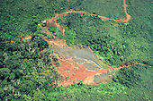 Carajas, Brazil. Aerial view of mine ore slurry from washing plant; Carajas iron ore mine, Para state.