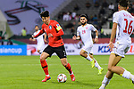 Son Heungmin of South Korea (L) in action during the AFC Asian Cup UAE 2019 Round of 16 match between South Korea (KOR) and Bahrain (BHR) at Rashid Stadium on 22 January 2019 in Dubai, United Arab Emirates. Photo by Marcio Rodrigo Machado / Power Sport Images