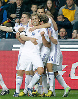 Finland's players celebrate goal during international match of the qualifiers for the FIFA World Cup Brazil 2014.March 22,2013.(ALTERPHOTOS/Victor Blanco)