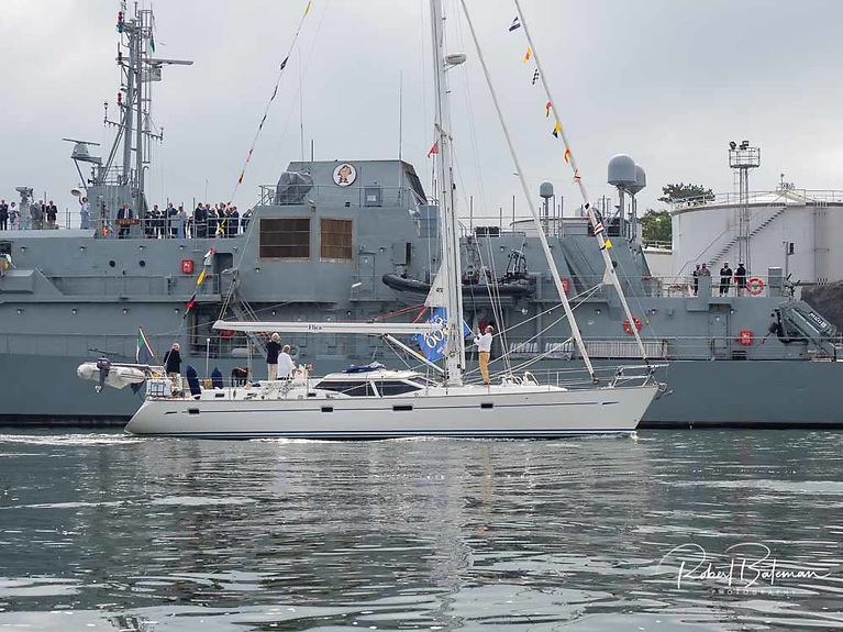 Participating boats lined up at Cage buoy off Crosshaven at 10 amand assembled at No 18 buoy before the fleet made its way past the L.E. Roisin berthed at the berthoff Haulbowline for the official salute