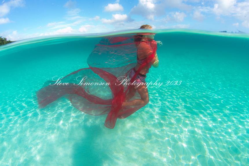 Reese Brosnan underwater<br /> Hawks nest Bay<br /> Virgin Islands National Park<br /> St. John, US Virgin Islands