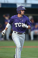 Dane Steinhagen (10) of the TCU Horned Frogs runs the bases during a game against the Loyola Marymount Lions at Page Stadium on March 16, 2015 in Los Angeles, California. TCU defeated Loyola, 6-2. (Larry Goren/Four Seam Images)