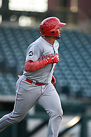 AZL Reds Jose Tello (40) watches the ball go over the left field fence after hitting a home run during an Arizona League game against the AZL Cubs 2 on July 23, 2019 at Sloan Park in Mesa, Arizona. AZL Cubs 2 defeated the AZL Reds 5-3. (Zachary Lucy/Four Seam Images)
