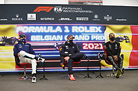 29th August 2021; Spa Francorchamps, Stavelot, Belgium: FIA F1 Grand Prix of Belgium,  race day: After cancellation of the race due to standing water on track,  VERSTAPPEN Max (ned), Red Bull Racing Honda RB16B,  RUSSELL George (gbr), Williams Racing F1 FW43B, HAMILTON Lewis (gbr), Mercedes AMG F1 GP W12 E Performance, portrait press conference
