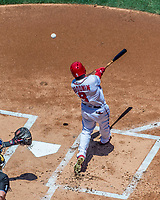 9 July 2017: Washington Nationals outfielder Brian Goodwin at bat against the Atlanta Braves at Nationals Park in Washington, DC. The Nationals defeated the Atlanta Braves to split their 4-game series going into the All-Star break. Mandatory Credit: Ed Wolfstein Photo *** RAW (NEF) Image File Available ***