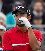 15.10.2014. The London Golf Club, Ash, England. The Volvo World Match Play Golf Championship.  Day 1 group stage matches.  Pablo Larrazabal [ESP] on the first tee.