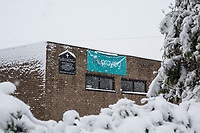 A local Church with a Try Praying sign<br /> Weather - the Snowfall in Wycombe England on 10 December 2017. Photo by Andy Rowland.