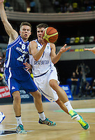 20 AUG 2014 - LONDON, GBR - Devon Van Oostrum (GBR) (right) from Great Britain tries to avoid a challenge from Hlynur Baeringsson (ISL) (left) from Iceland during their men's 2015 EuroBasket 3rd Qualifying Round game at the Copper Box Arena in the Queen Elizabeth Olympic Park in Stratford, London, Great Britain (PHOTO COPYRIGHT © 2014 NIGEL FARROW, ALL RIGHTS RESERVED)