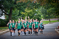 Delaware Valley College:  Womens Soccer team members walk back to their dorm following a game.