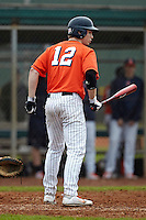 Illinois Fighting Illini pinch hitter David Kerian #12 during a game against the Notre Dame Fighting Irish at the Big Ten/Big East Challenge at Walter Fuller Complex on February 17, 2012 in St. Petersburg, Florida.  (Mike Janes/Four Seam Images)