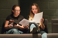 """Lighting designer and choreographer, Hannah Greenslade, in discussion.  Special Olympics Surrey put on a show,   """"Beyond the Stars"""", at the Rose Theatre, Kingston upon Thames to raise money for the  SOGB team.  The Special Olympics are for athletes with learning disabilities."""