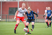 Lotte De Wilde (19) of Zulte-Waregem pictured defending on Celien Guns (10) of Club Brugge during a female soccer game between SV Zulte - Waregem and Club Brugge YLA on the 13 th matchday of the 2020 - 2021 season of Belgian Scooore Womens Super League , saturday 6 th of February 2021  in Zulte , Belgium . PHOTO SPORTPIX.BE   SPP   DIRK VUYLSTEKE