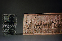 "Mesopotamia:  Cylinder seal and Modern Impression, c. 2200 B.C.  ""Mesopotamian treasures from the Louvre.""  ASIAN ART, winter 1992."