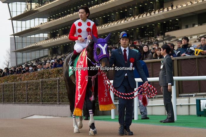 FUCHU,JAPAN-JANUARY 29: Kafuji Take,ridden by Yuichi Fukunaga, after winning the Negishi Stakes at Tokyo Racecourse on January 29,2017 in Fuchu,Tokyo,Japan (Photo by Kaz Ishida/Eclipse Sportswire/Getty Images)
