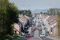 peloton leaving Binche <br /> neutralised section<br /> <br /> 81st La Flèche Wallonne (1.UWT)<br /> One Day Race: Binche › Huy (200.5km)
