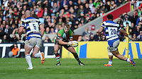 Joe Marler of Harlequins faces up to Carl Fearns (left) and Alafoti Fa'osiliva of Bath Rugby during the Aviva Premiership match between Harlequins and Bath Rugby at The Twickenham Stoop on Saturday 10th May 2014 (Photo by Rob Munro)