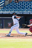 Peoria Javelinas first baseman Evan White (15), of the Seattle Mariners organization, follows through on his swing during an Arizona Fall League game against the Scottsdale Scorpions at Peoria Sports Complex on October 18, 2018 in Peoria, Arizona. Scottsdale defeated Peoria 8-0. (Zachary Lucy/Four Seam Images)