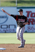 Chris Bisson #29 of the Lake Elsinore Storm during a game against the Inland Empire 66'ers at San Manuel Stadium on July 15, 2012 in San Bernardino, California. Inland Empire defeated Lake Elsinore 4-3. (Larry Goren/Four Seam Images)