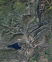 aerial photo map of Durango, La Plata County, Colorado and Lake Nighthorse.