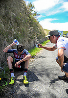 Tour organiser Jorge Sandoval shoots footage of stage winner Ian Bibby (JLT Condor) after stage four of the 2018 NZ Cycle Classic UCI Oceania Tour (Masterton to Admiral's Hill) in Wairarapa, New Zealand on Saturday, 20 January 2018. Photo: Dave Lintott / lintottphoto.co.nz