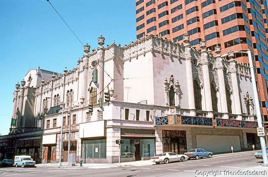 Seattle: The Music Hall, designed as The Mayflower but opened as Fox Theater, 1928. Sherwood D. Ford. 702 Olive Way. 1989--threatened with demolition and after much controversy demolished in 1992.