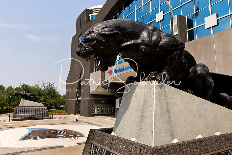 The Panthers statue outside of the Bank of America Stadium in Charlotte NC.